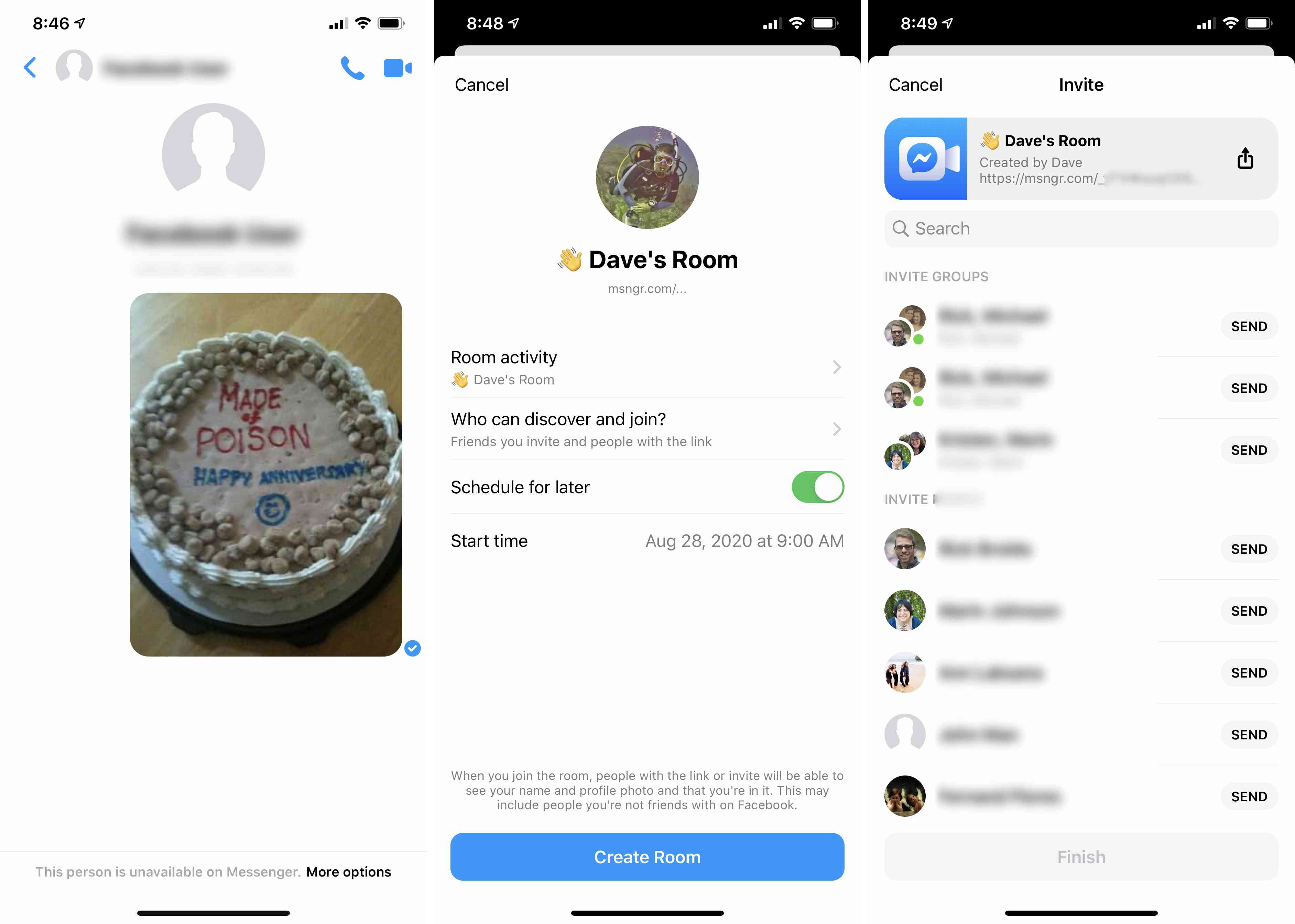 Three views of Facebook Messenger
