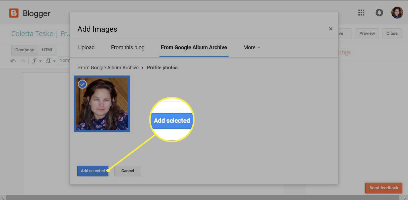 how to insert an image in a Blogger page to upload image on Google Online