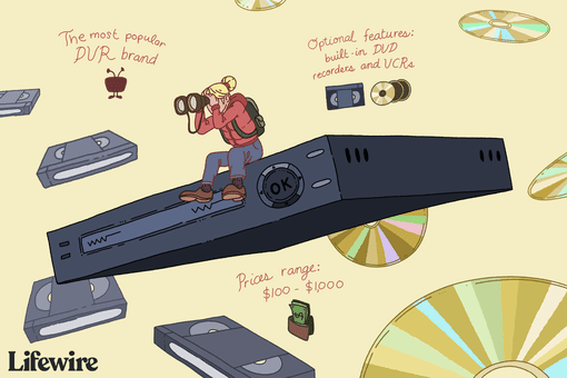 Illustration of a person sitting atop a DVR unit, holding binoculars to their eyes