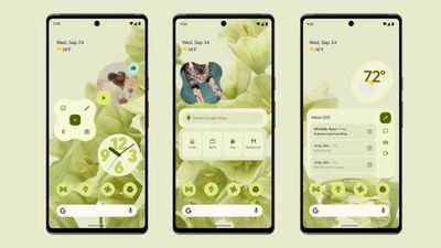 An example of Android 12's Material You feature on three Pixel phones