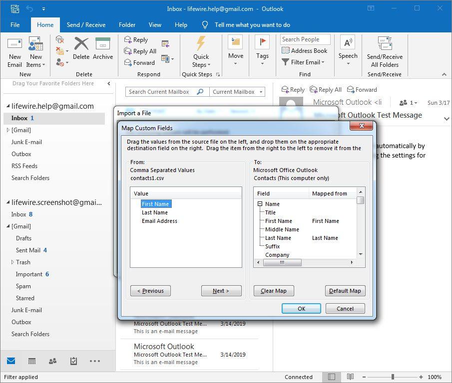 Map Custom Fields window in Outlook 2016