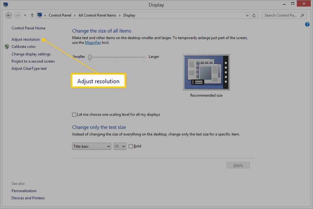 Adjust resolution link in Display applet