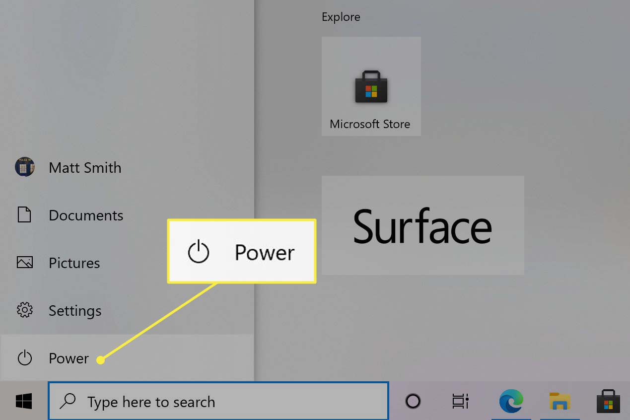 The Windows Start Menu open with the Power selection visible.