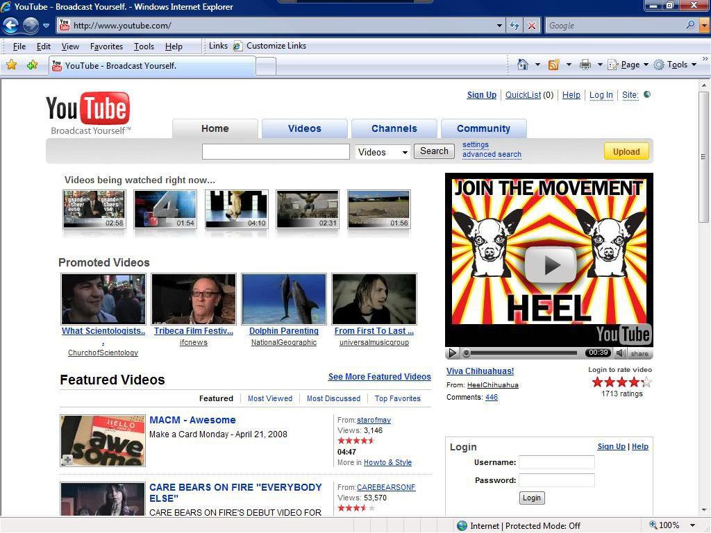 YouTube Web Portal