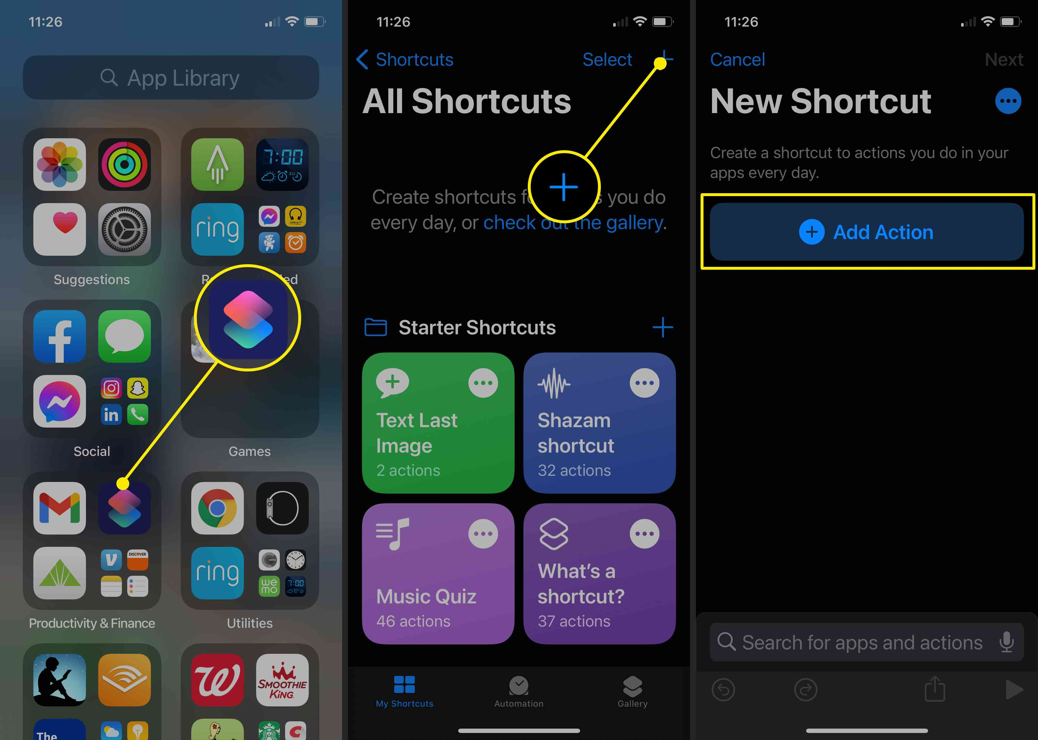 Screenshots of how to start creating a new shortcut in iOS 14 to customize app icons.