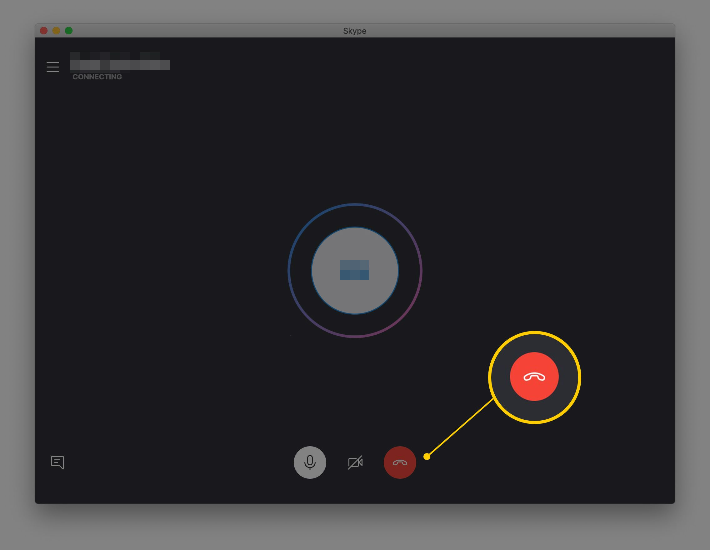 Red telephone hang up button in Skype for macOS