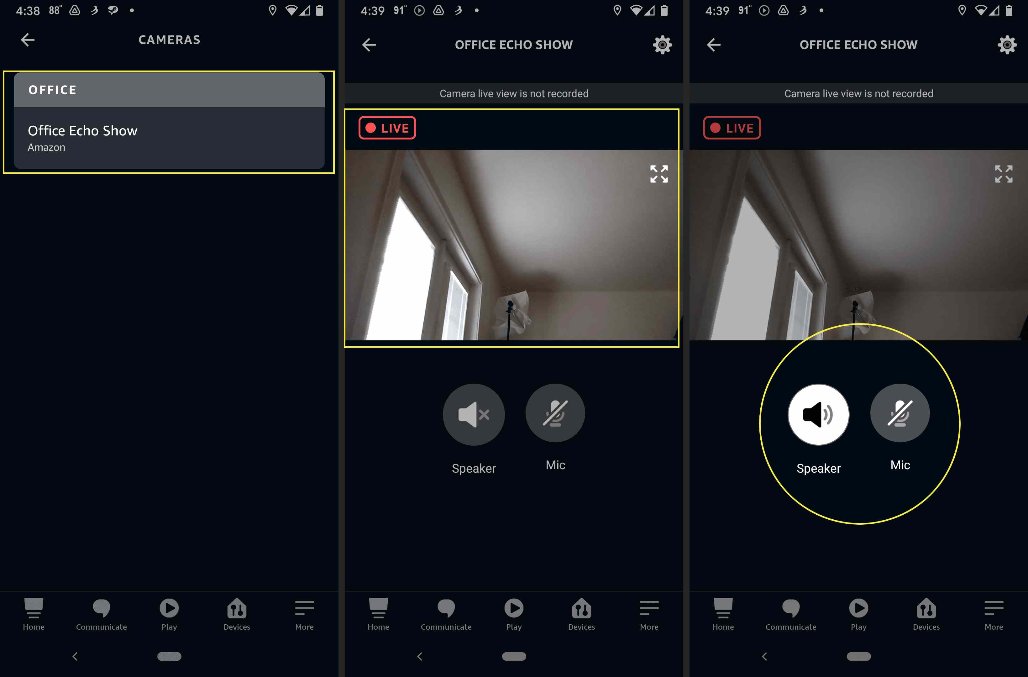 Alexa app home monitoring live view with Echo selected, live view shown, and Speaker/Mic highlighted