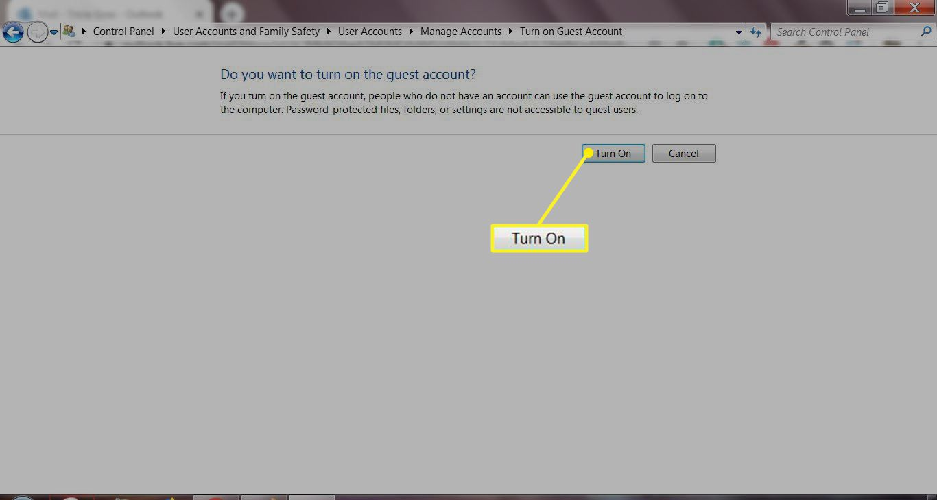 Windows 7 Guest Account window with Turn On selected