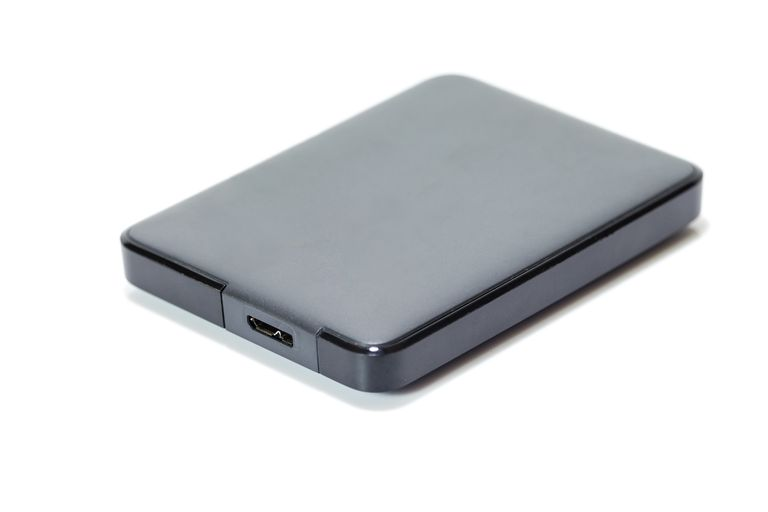 A grey colored wireless external hard drive