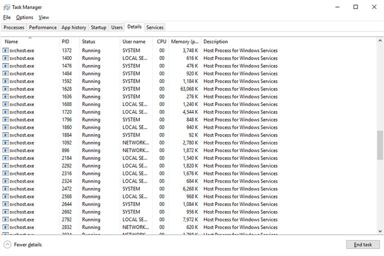 Screenshot of several svchost.exe processes in Task Manager