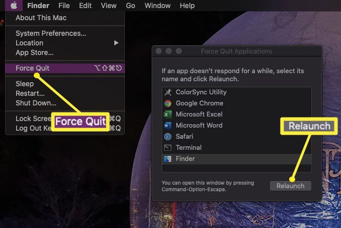 Force Quit selected in Apple menu