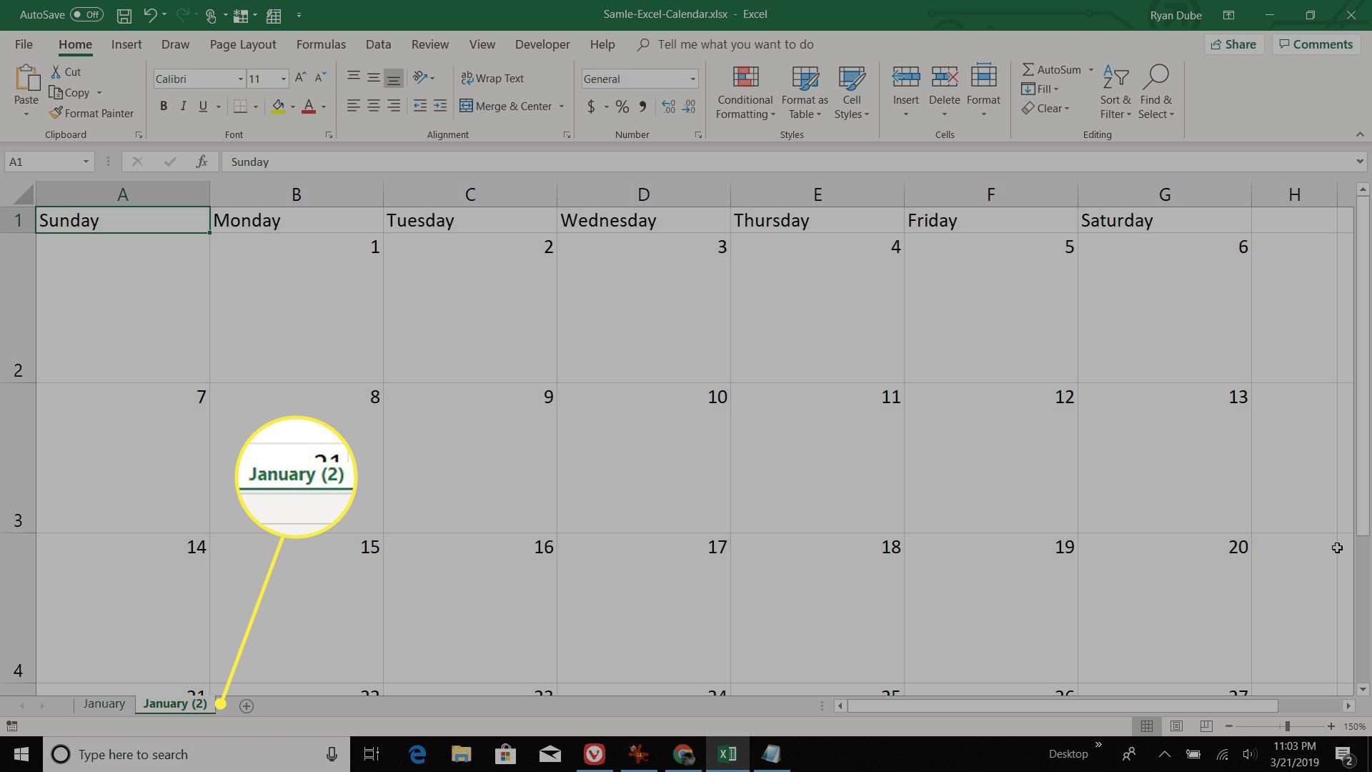 copying a month sheet in Excel
