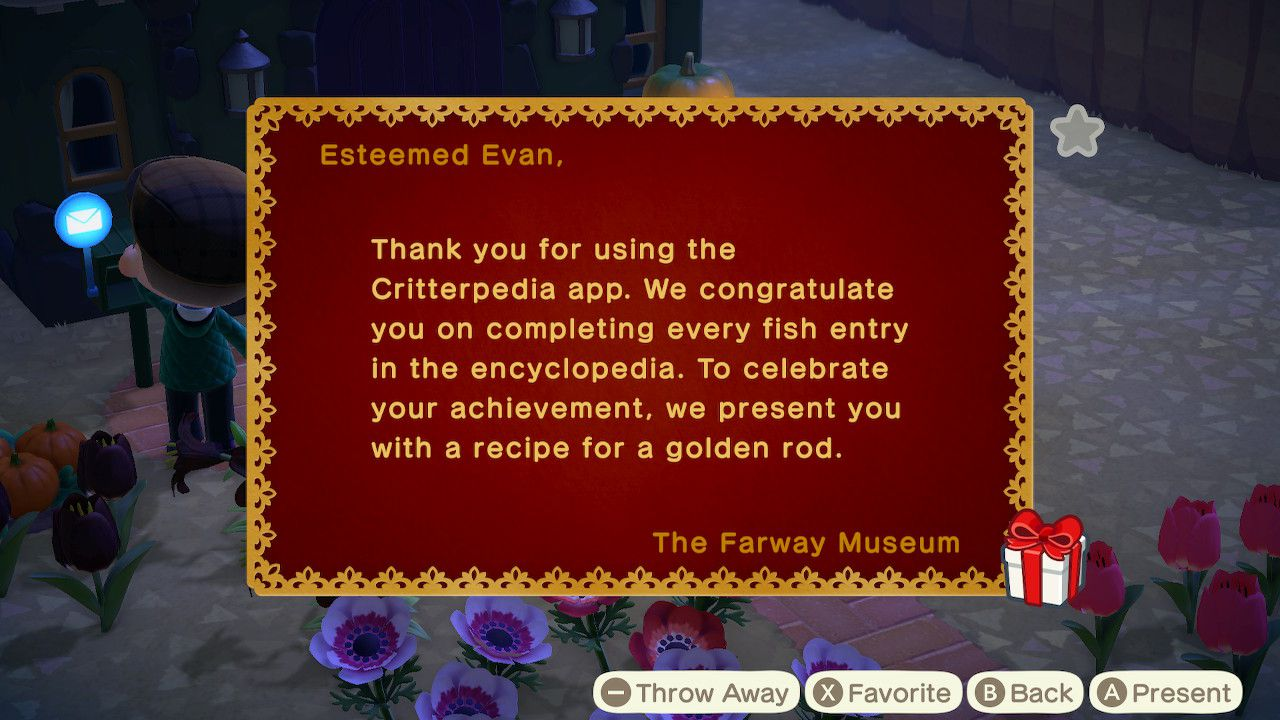 The letter in Animal Crossing: New Horizons containing the recipe for the golden rod