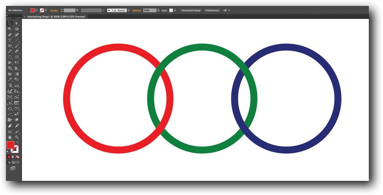 Three interlocking red,green and blue rings are shown on the Illustrator canvas.