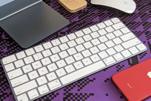 An iMac Magic Keyboard with Touch ID.