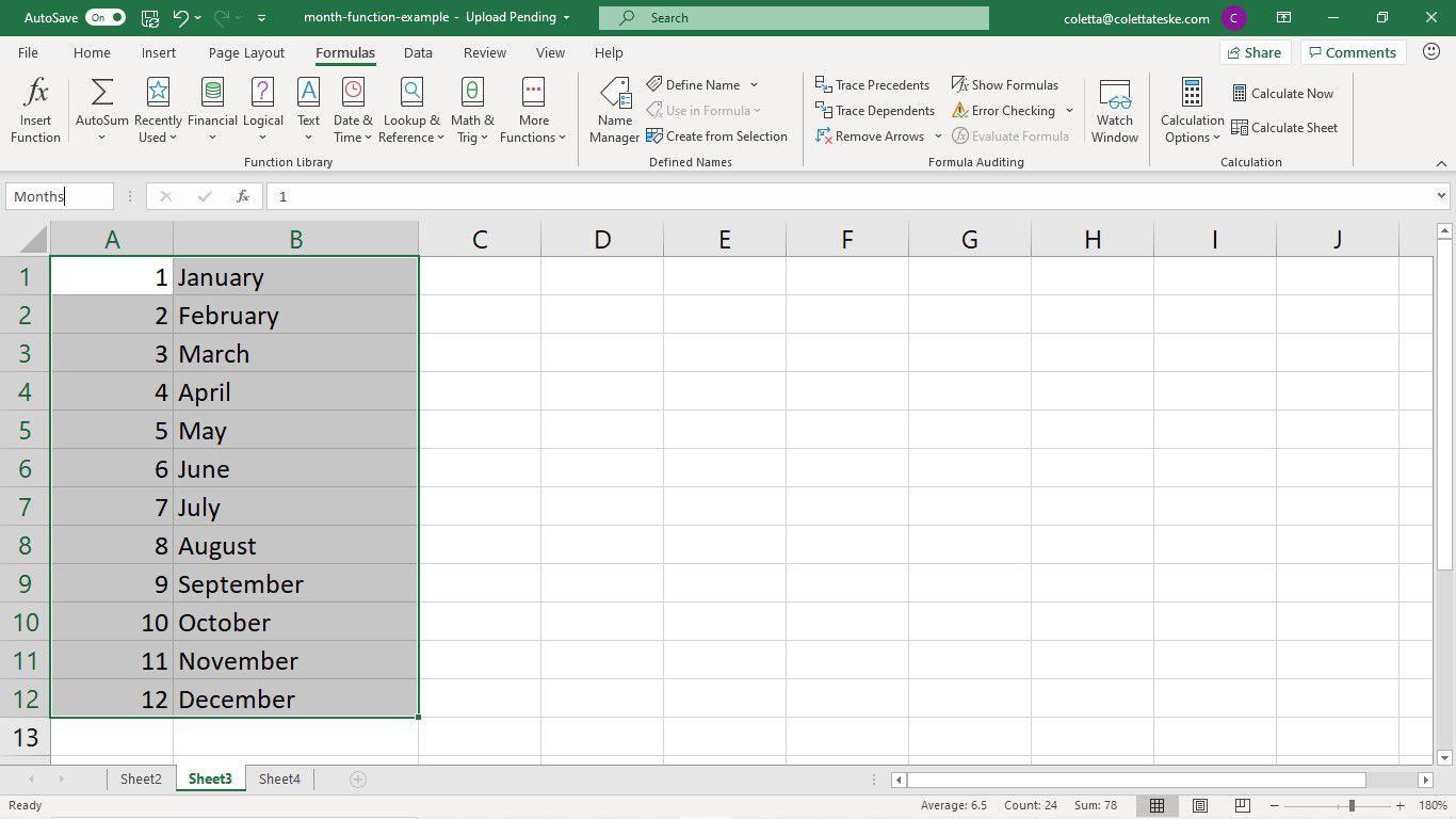 Selecting cells for a named range in Excel
