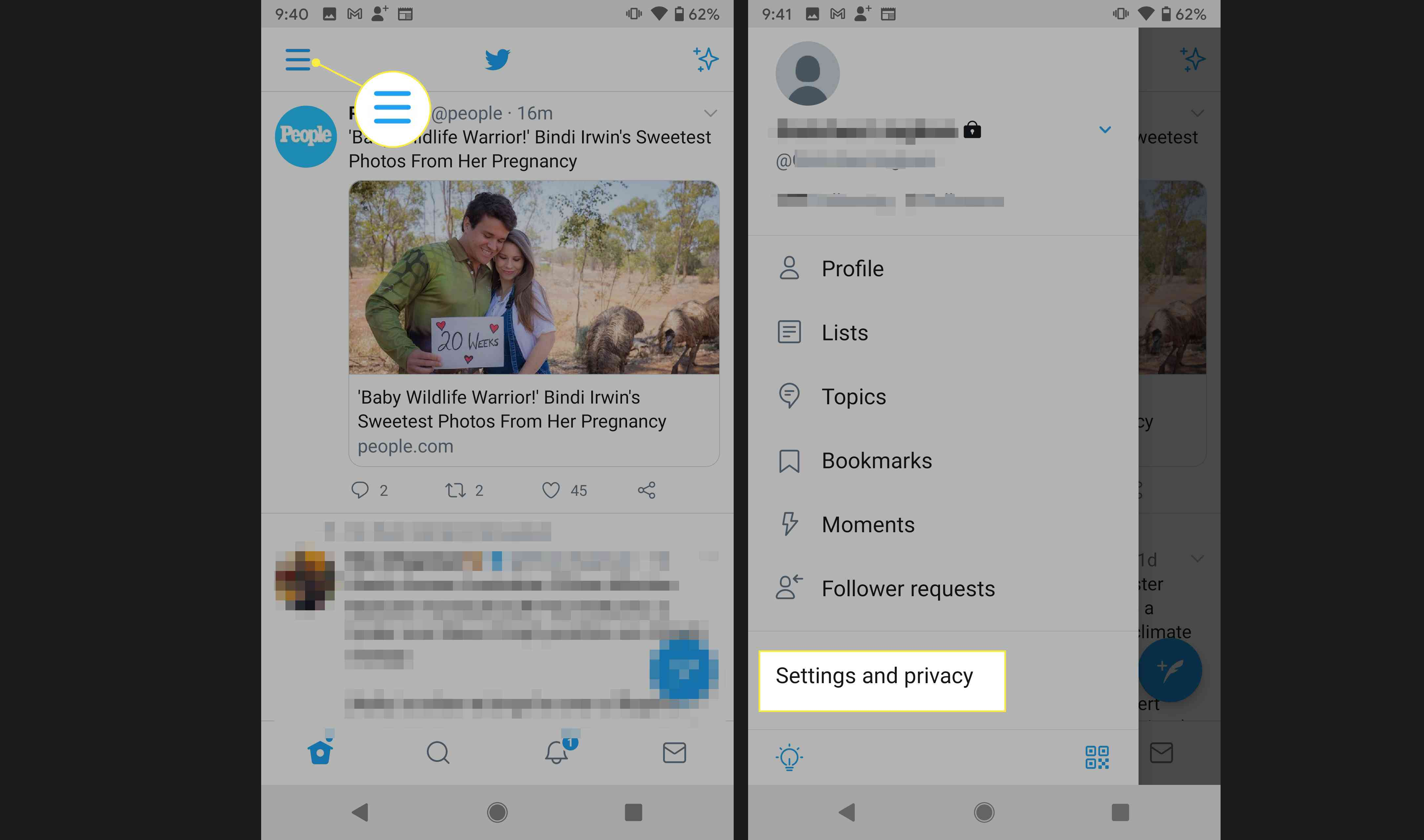 Twitter Android app with Account and Settings and Privacy highlighted