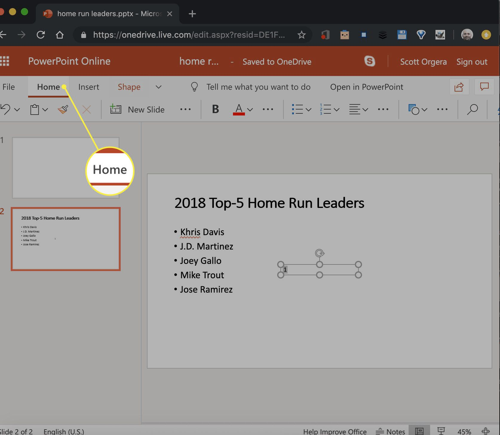 a new text box in PowerPoint Online