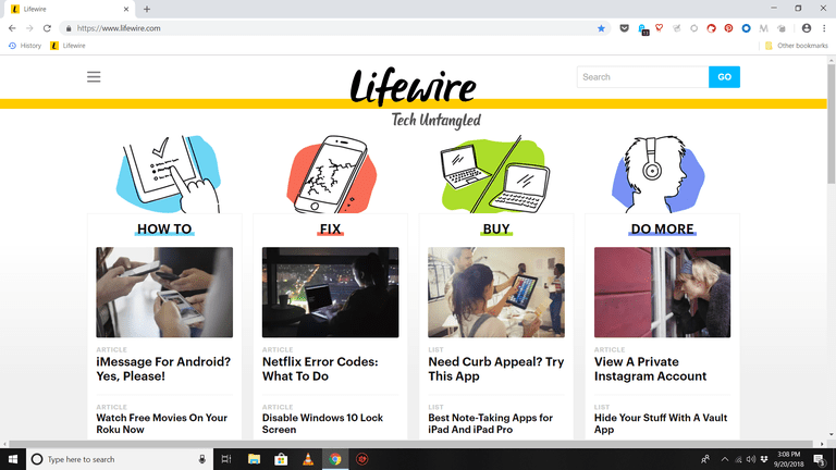 Screenshot of Chrome in full-screen mode with Lifewire website onscreen