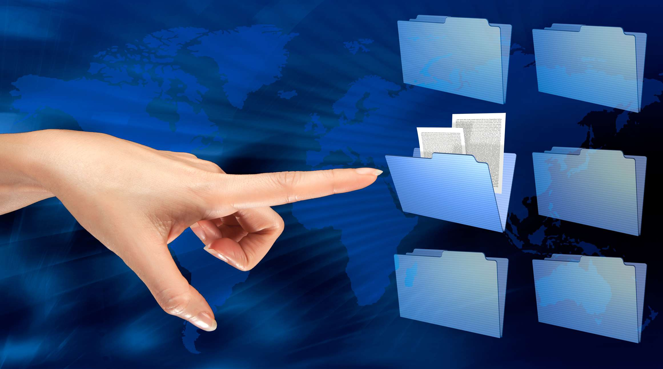 An image graphic of a woman pointing to a group of file folders.