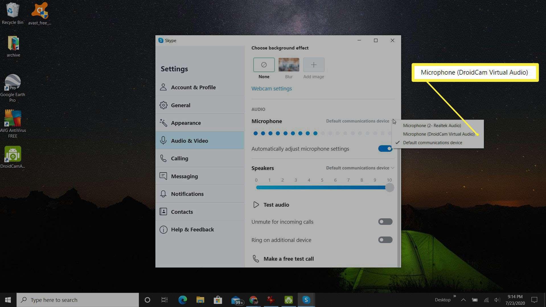 Screenshot of selecting DroidCam Virtual Audio in Skype audio settings.
