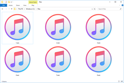 Screenshot of several AAC files in Windows 10 that open with iTunes
