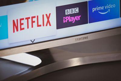 Closeup of the Netflix app displayed on a Samsung smart TV.