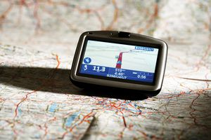 Navigation instrument on map, close-up
