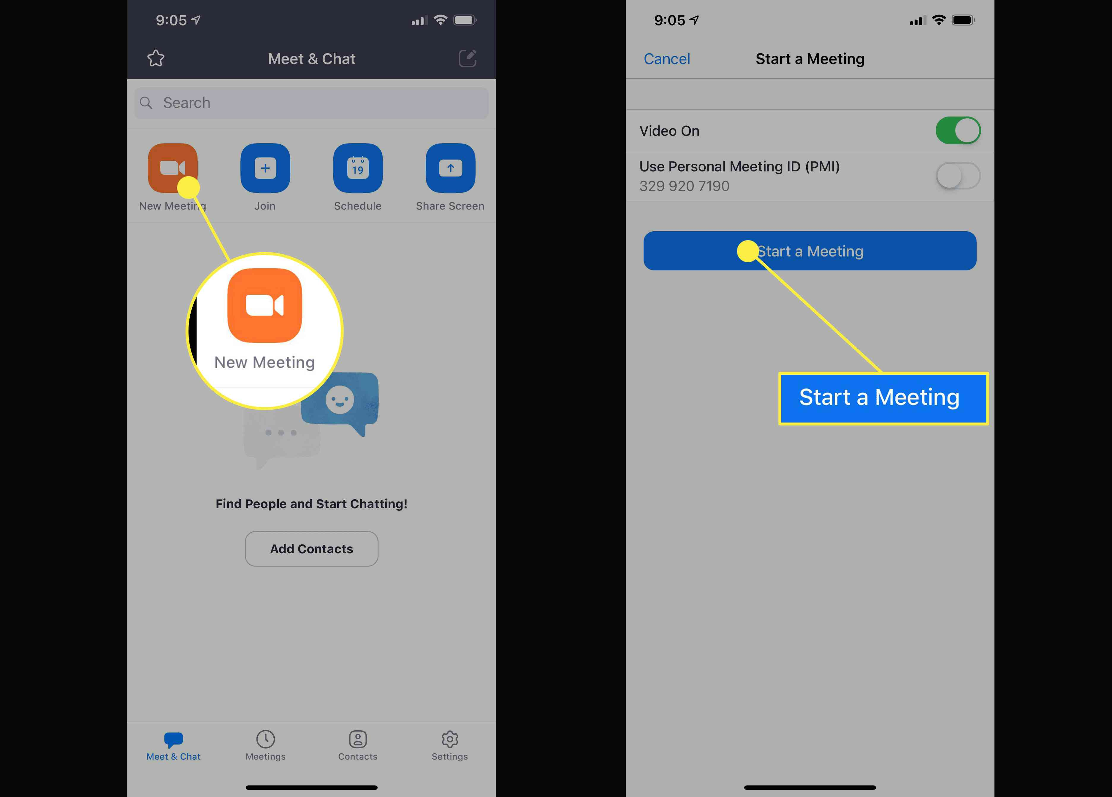 Screenshots of creating a Zoom meeting on iPhone.