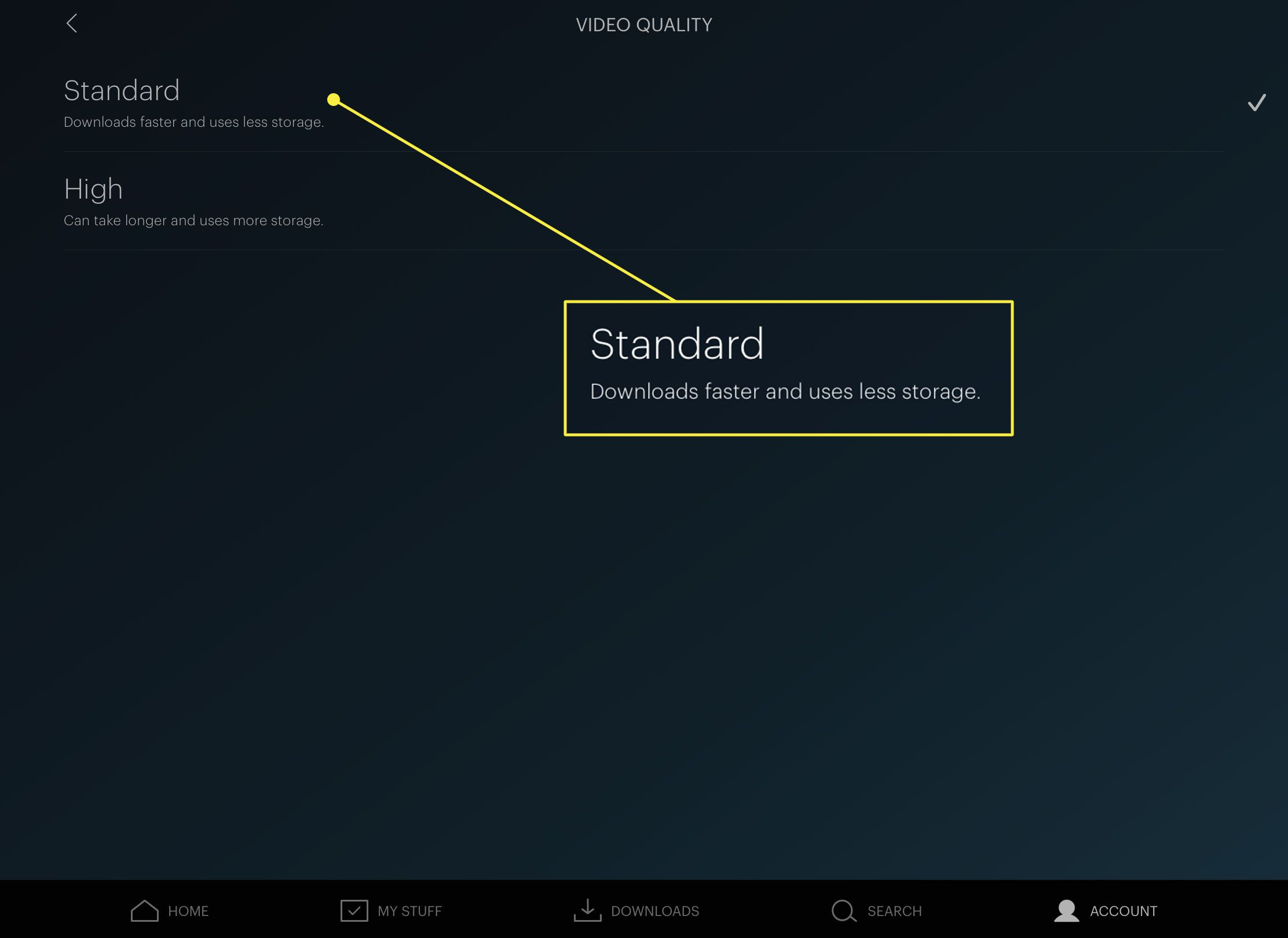 A screenshot of Hulu's Video Quality screen with the Standard option highlighted
