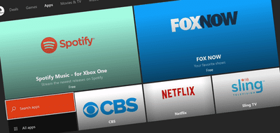 A screenshot of video apps available on the Xbox.