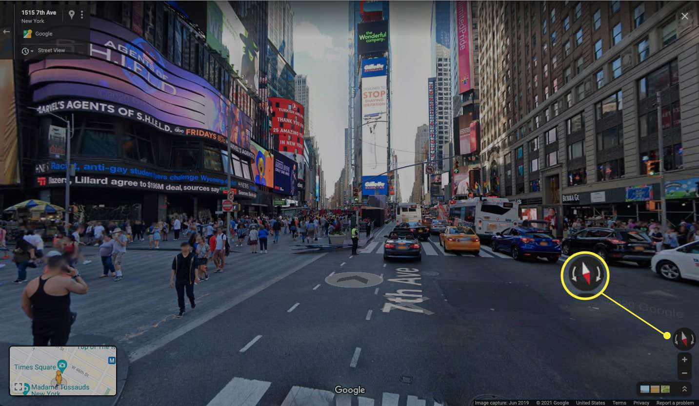 Google Maps street view of New York with arrow highlighted