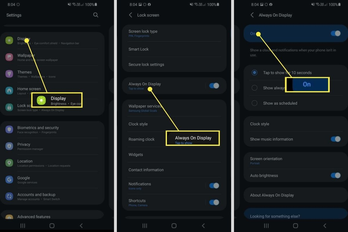 Display > Always-On Display > Lockscreen On in Samsung settings
