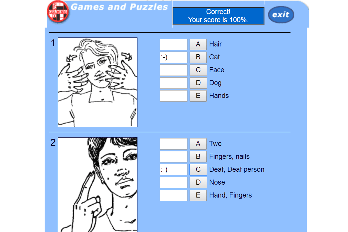 Deafsign sign language game