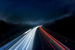 Highway lights at night