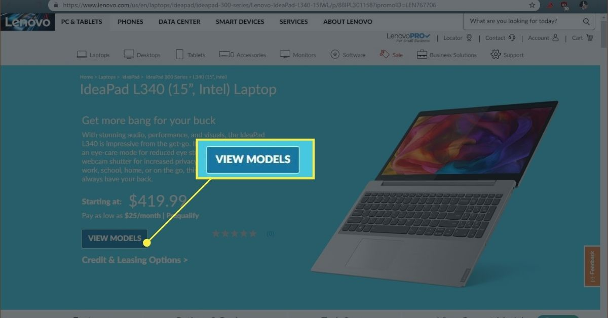 A laptop on the Lenovo store.