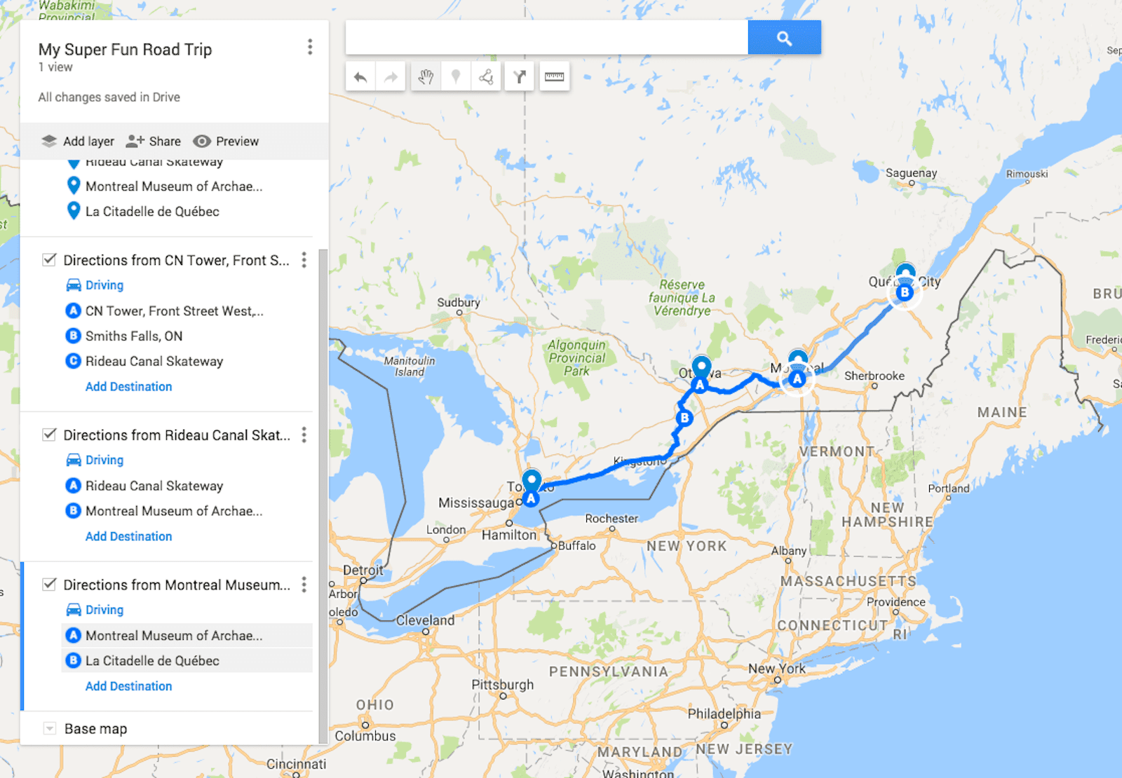 Send a Custom Route on Google Maps to Your Phone Google Map Quebec on world map quebec, major lakes in quebec, mapquest quebec, detailed map of quebec, google earth quebec,