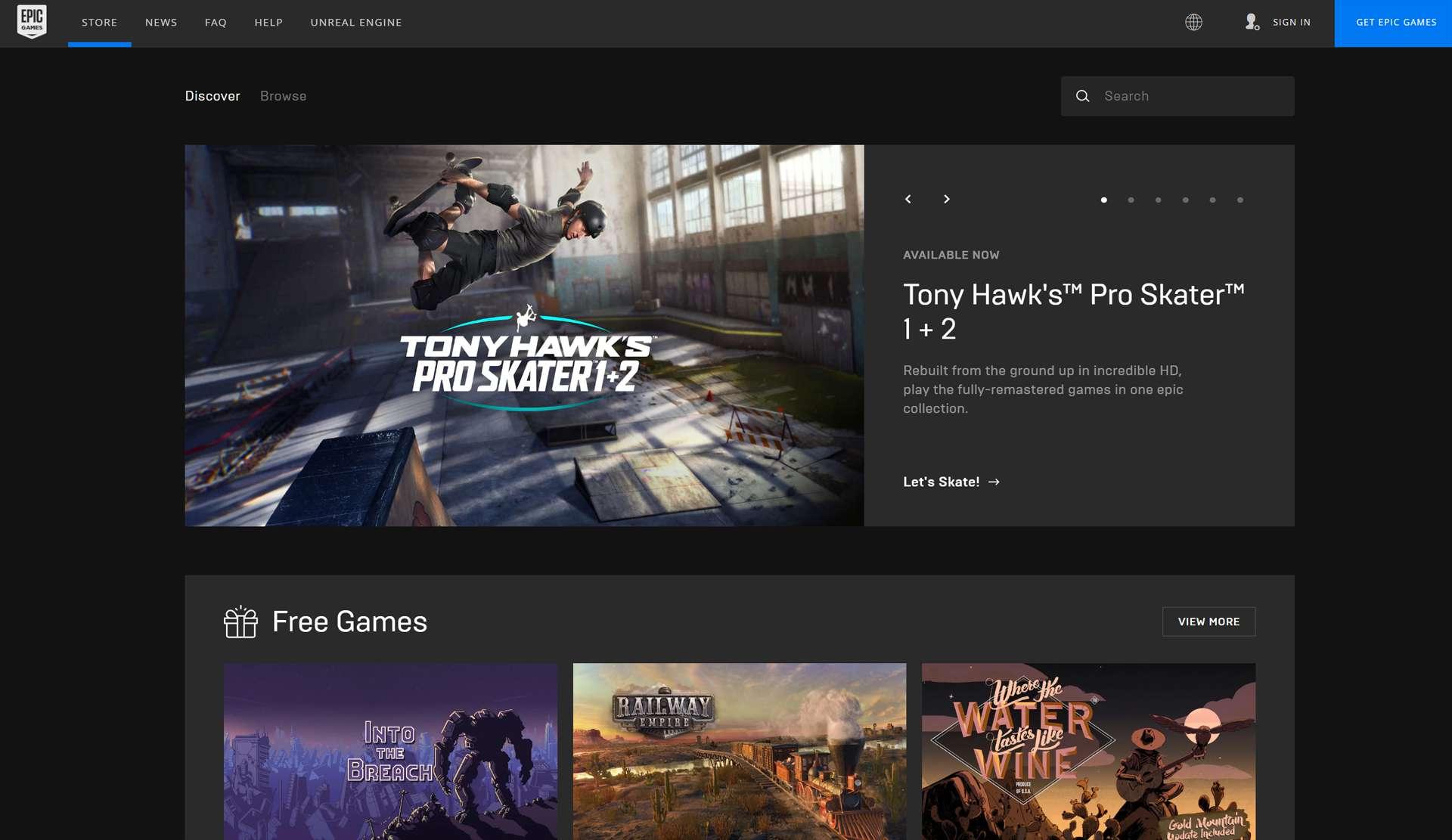 Epic Games website.