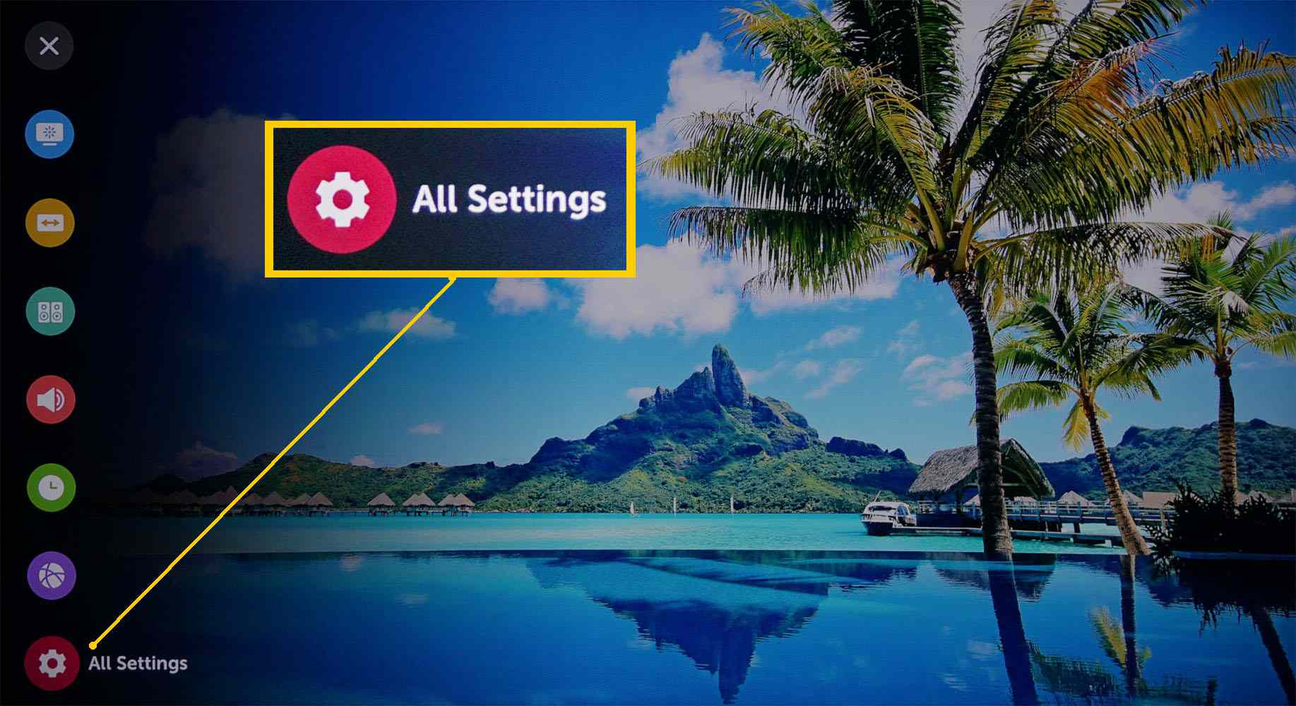 LG 4K Ultra HD TV – Home Page – All Settings Selected