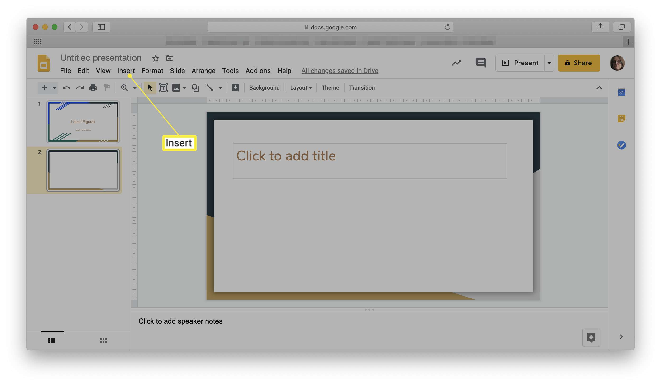 Google Slides with Insert highlighted