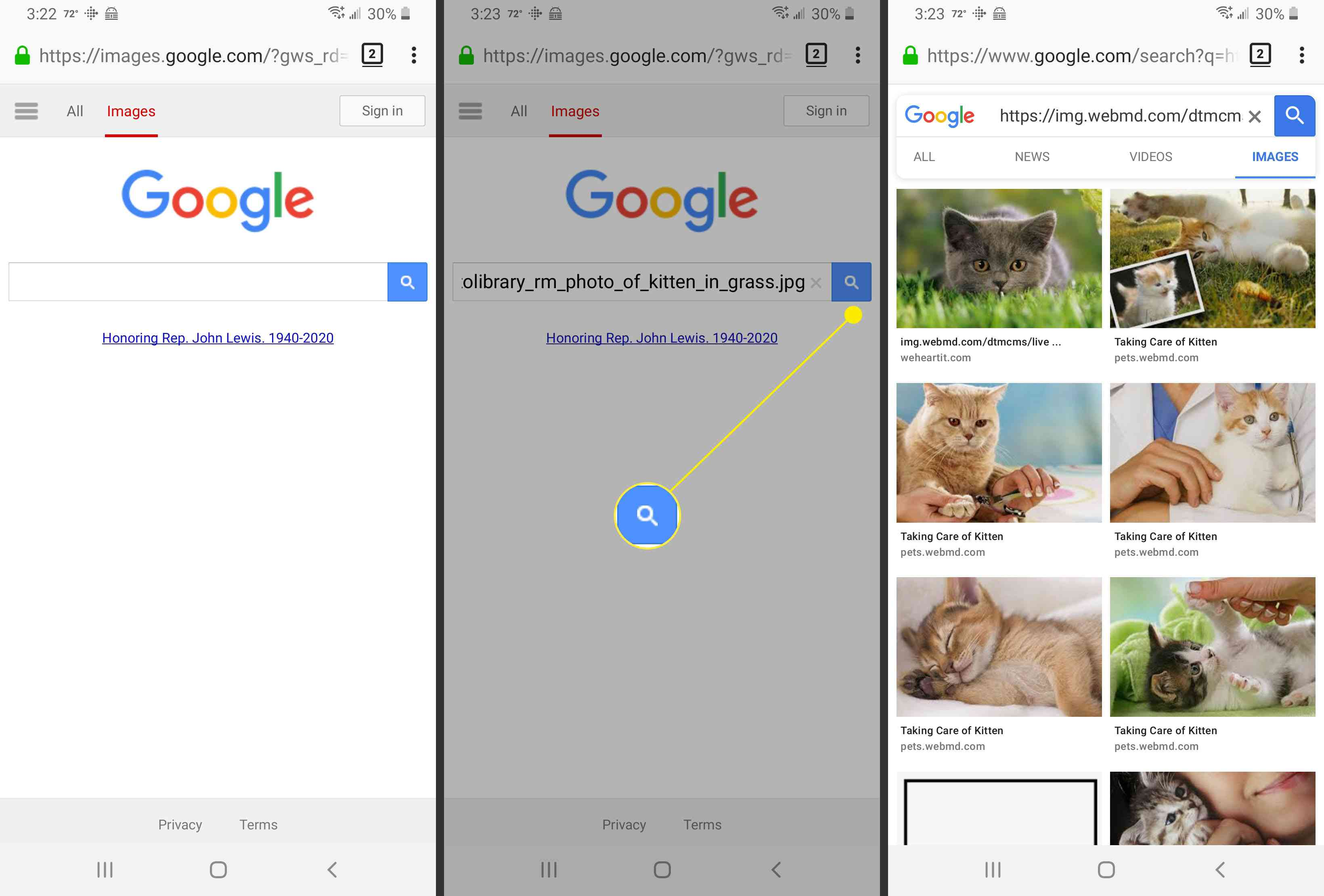 Searching for an image in Google Images.