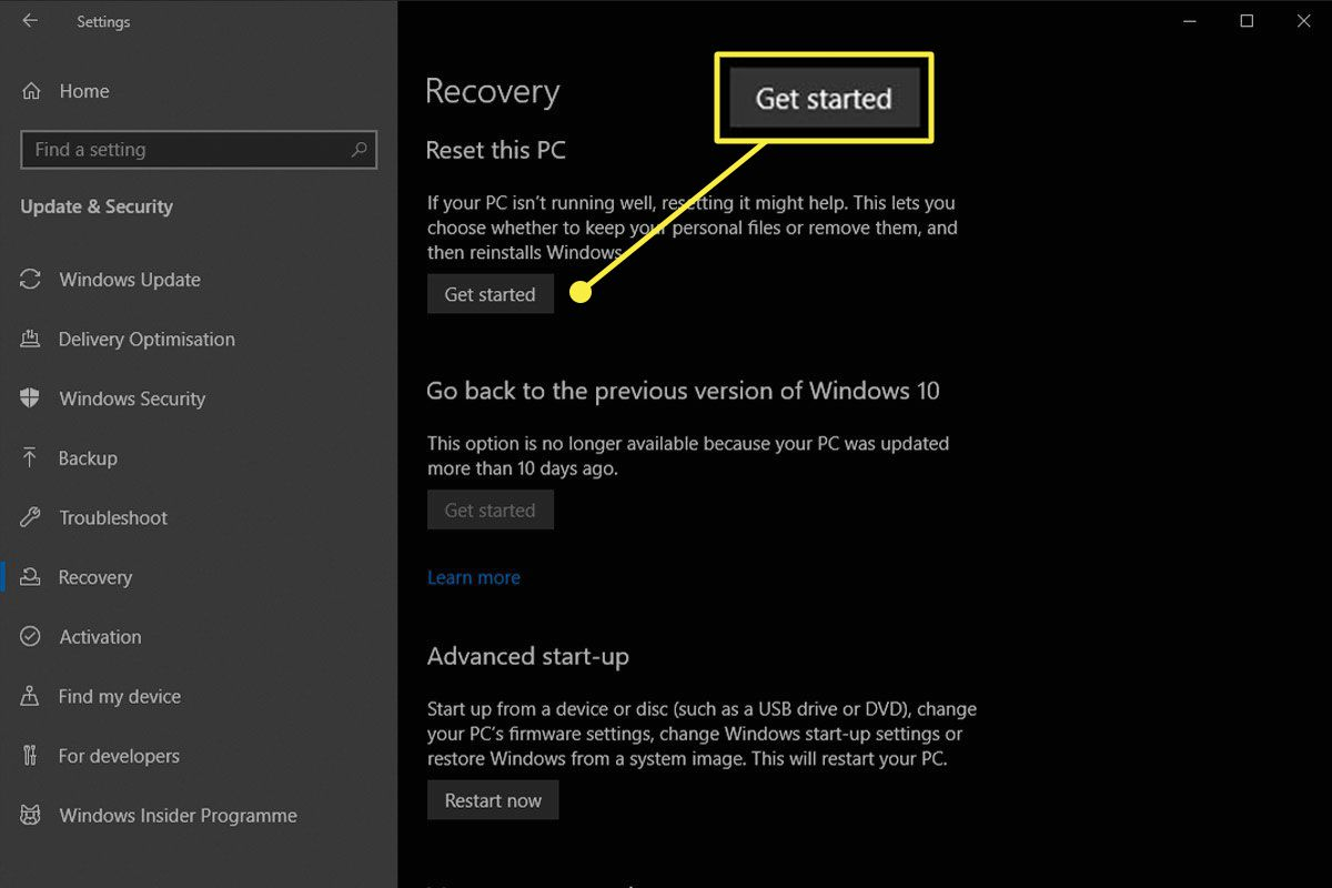 The Get started button inside Recovery on Windows 10.