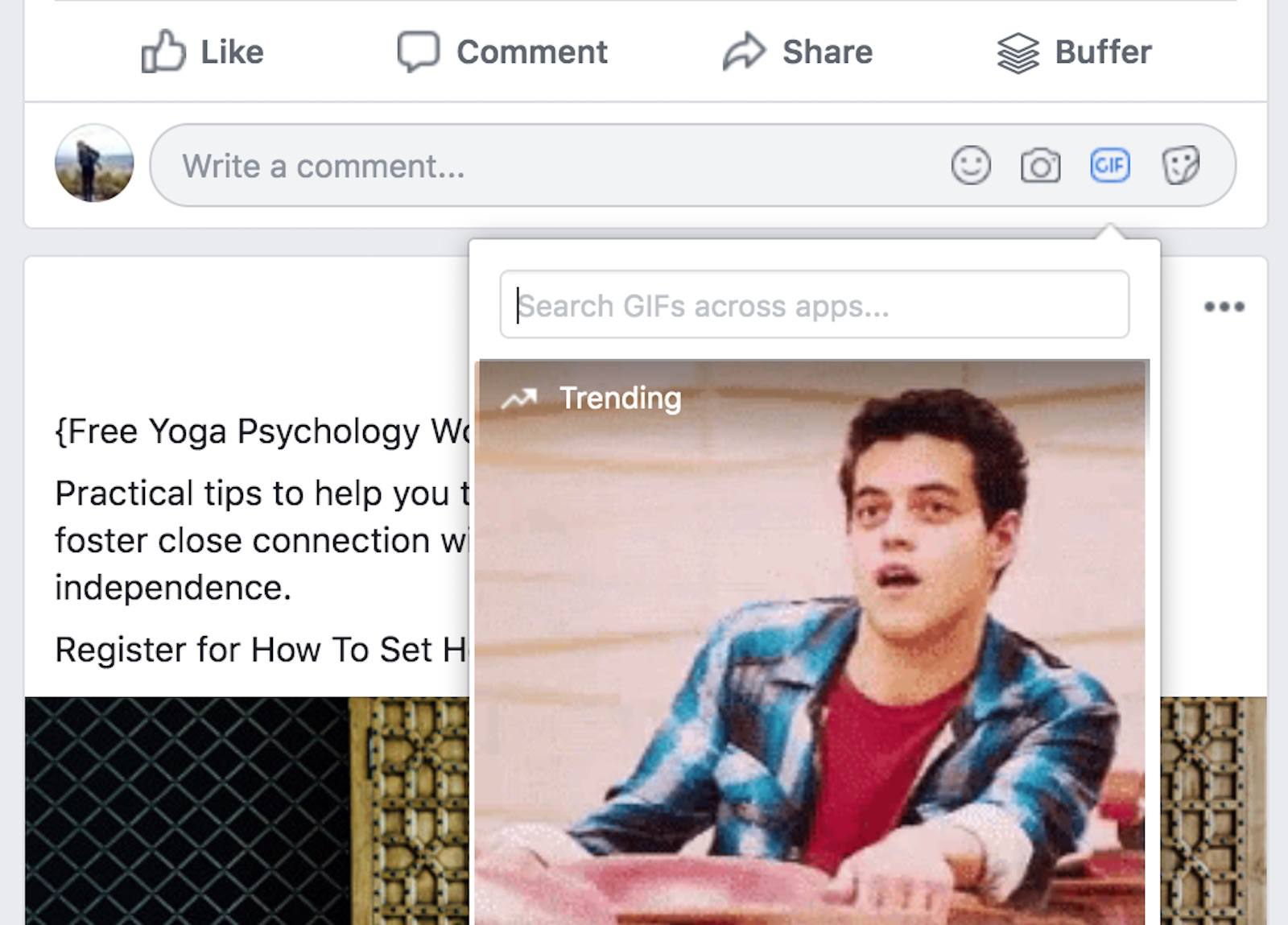 Searching GIFs on Facebook.com.