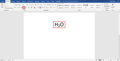 H2O chemical formula subscripted in Microsoft Word
