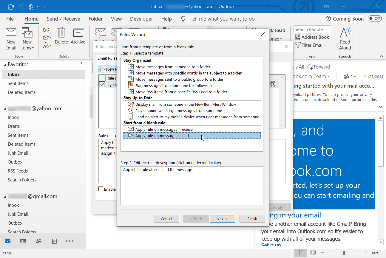 Screenshot of the Rules Wizard in Outlook