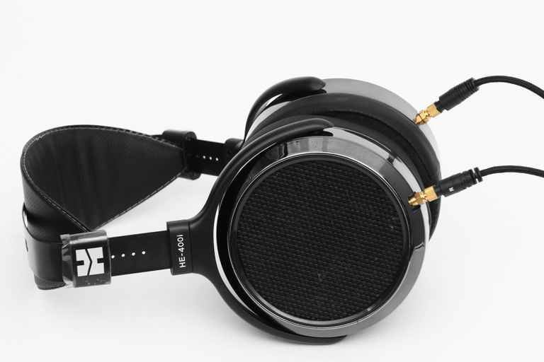 The HiFiMan HE-400i planar magnetic headphones lying down flat