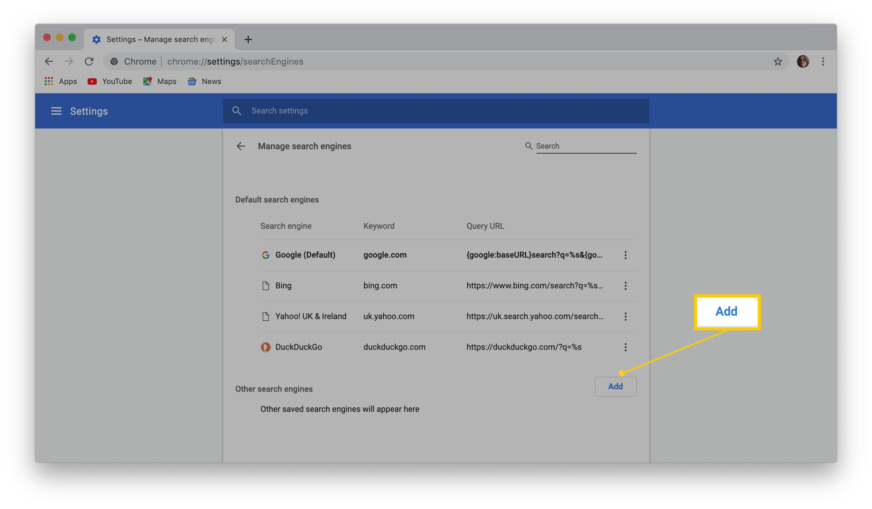 Adding a new search engine to Google Chrome