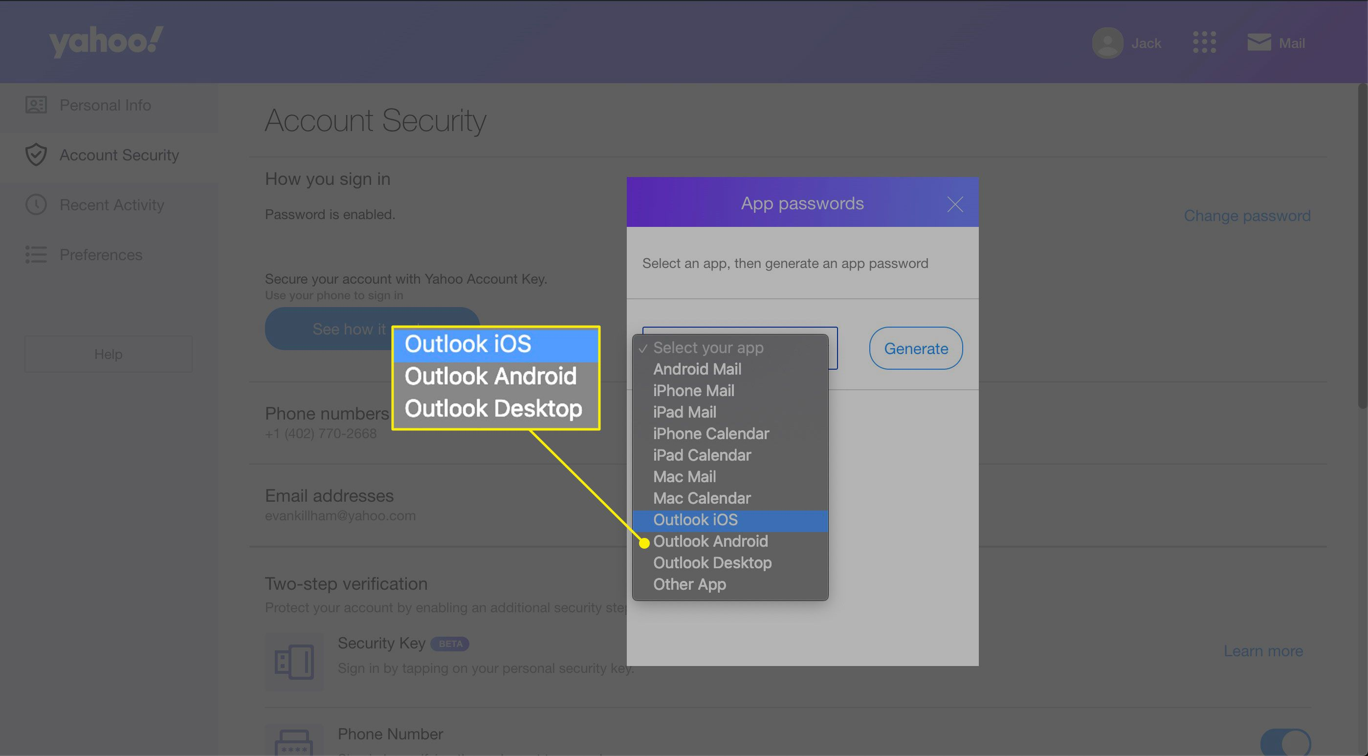 Select your app preferences in Yahoo Mail