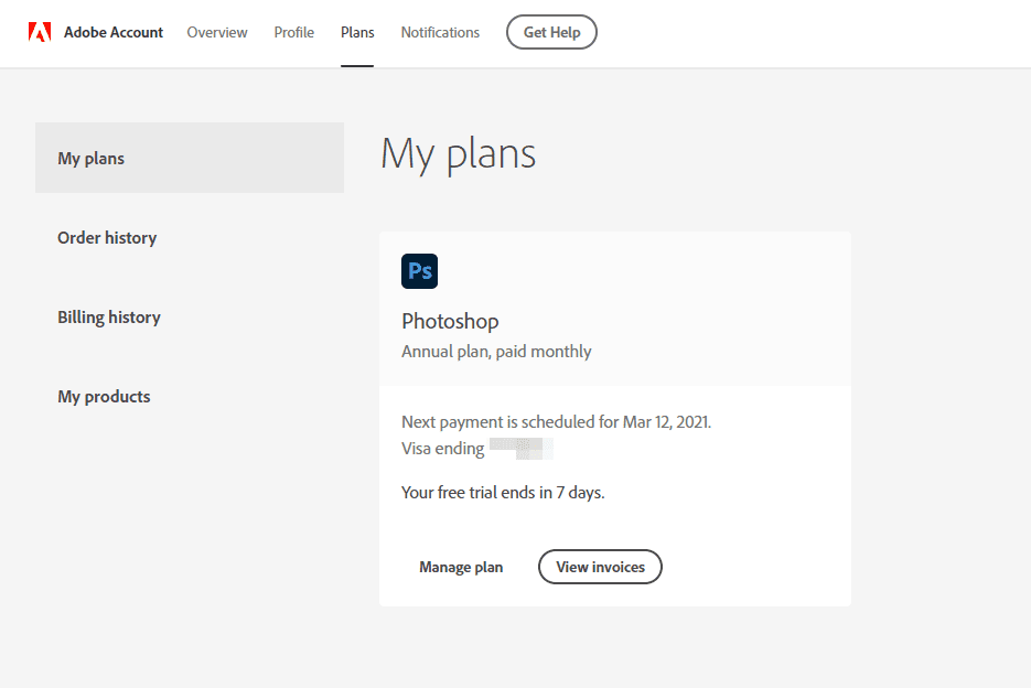 My Plans area of Adobe account with Photoshop trial listed