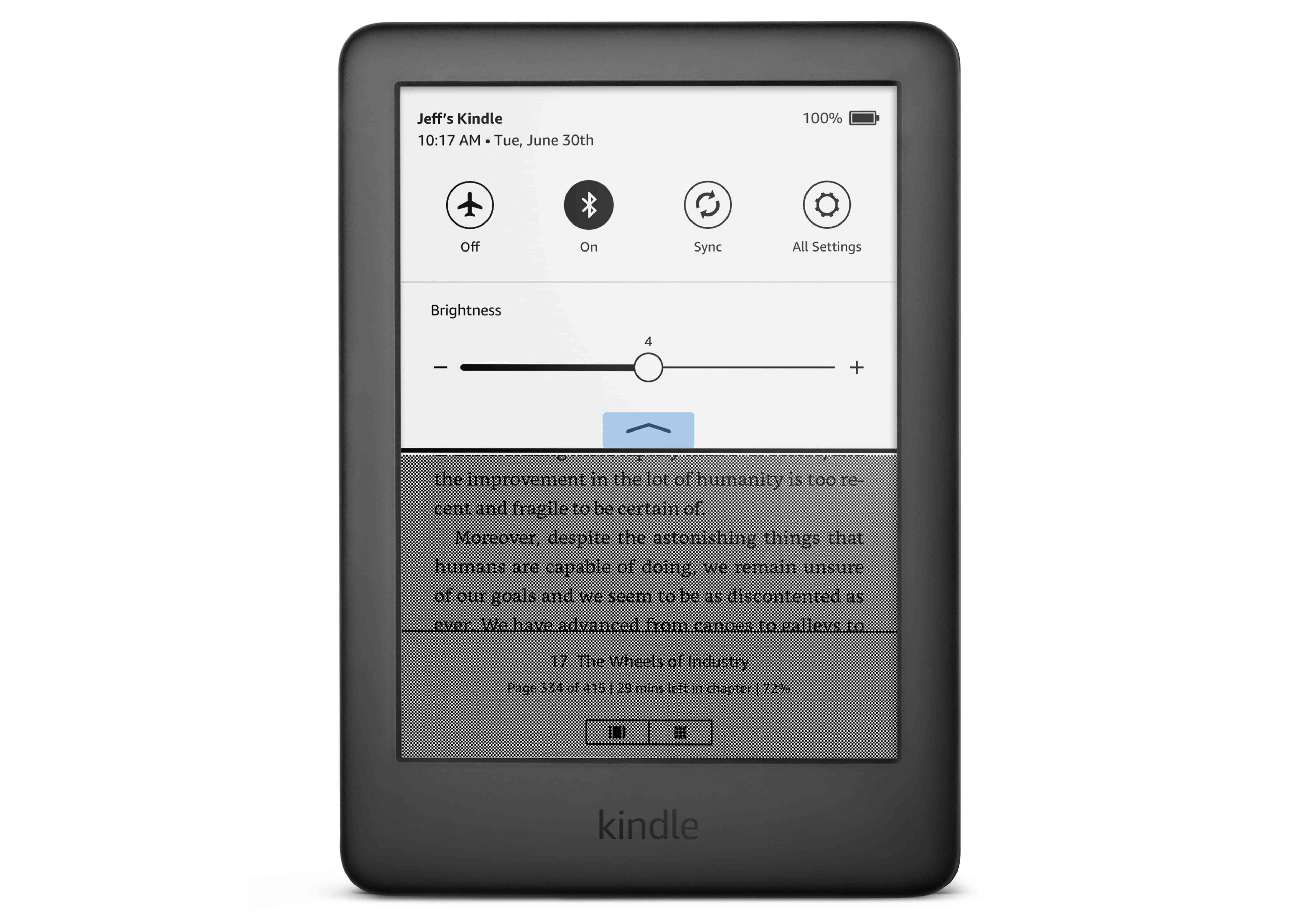 The new swipe down menu on the Amazon Kindle.